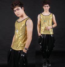 Round collar yellow Singer stage males's leather-based vest males model roupas masculinas horny tank prime camisetas regatas Customizable