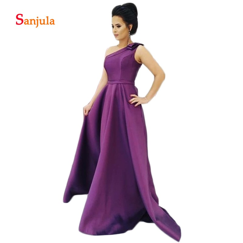 Purple Satin   Prom     Dresses   A-Line 2019 Fashion Design One Shoulder with Bow Elegant Women   Prom   Gowns Bridesmaid   Dresses   Long D496
