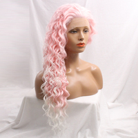 DLME Producrs Curly Ombre Pink Japanese Fiber Soft Glueless Synthetic Lace Front Wig For Women Free