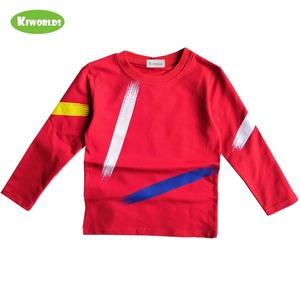 Image 5 - Chłopcy topy odzież dziecięca wiosna jesień bawełniana koszulka z długim rękawem dla chłopców, z czarnym i czerwonym chłopcem wygodna odzież