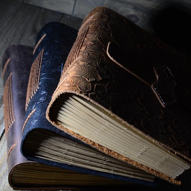 PHANTACI Vintage Handgemachte Leder Tagebuch Notebook Sketch Reise Journal Blank Schreiben Papier Hinweis Bücher Geschenke Schreibwaren