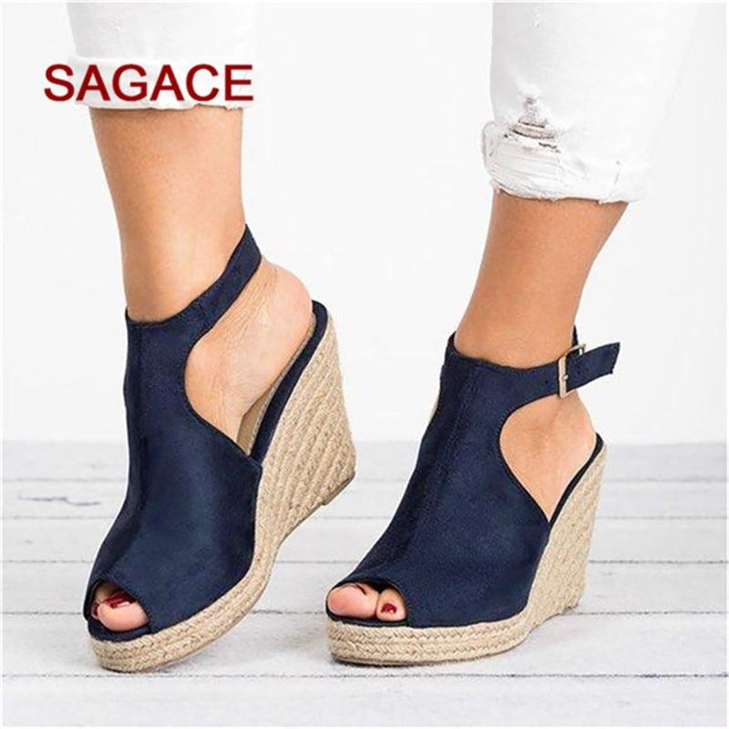 Women Wedges Shoes Sandals Buckle Heel Platform Wedding-Pumps Open-Toe Summer Mujer Casual