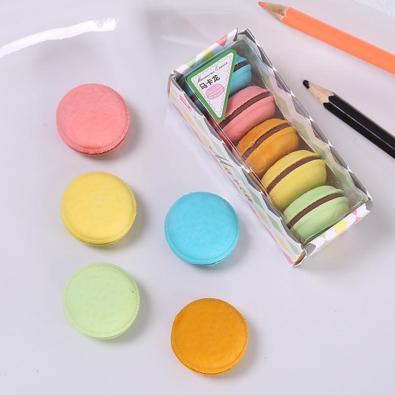 5pcs/Box Macaron Rubber Eraser Creative Colorful Cake Rubber Eraser Macaron Eraser For Kids Student Gift Novelty Stationery