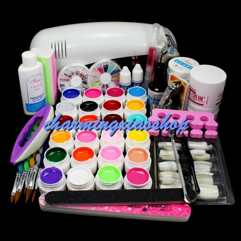 ФОТО PRO FULL 9W UV White Lamp 24 Color Pure UV GEL 5 Sable Acrylic Brush Nail Art KIT Gel To Build Gel Nails 34230