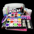 PRO FULL 9W UV White Lamp 24 Color Pure UV GEL 5 Sable Acrylic Brush Nail Art KIT Gel To Build Gel Nails 34230