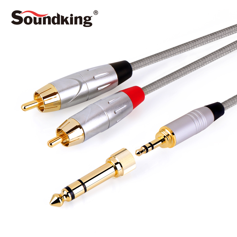 Soundking Multi-function RCA Cable 2rca to 3.5/6.35mm audio cable rca 3.5mm/6.35 Jack male to male extension audio cable B22