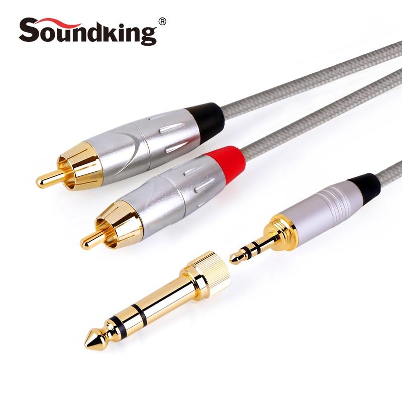 Soundking Multi-funktion RCA Kabel 2rca zu 3,5/6,35mm audio kabel rca 3,5mm/6,35 Jack männlich zu männlich erweiterung audio kabel B22