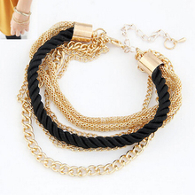 top quality 2015 2014 Fashion black luxury braided multilayer bracelet alloy bangle fashion jewelry free shipping