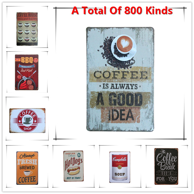 Hot Coffee Is Always A Good Idea Vintage Metal Signs Home Decor Vintage Tin  Signs Pub Vintage Decorative Plates Metal Wall Art