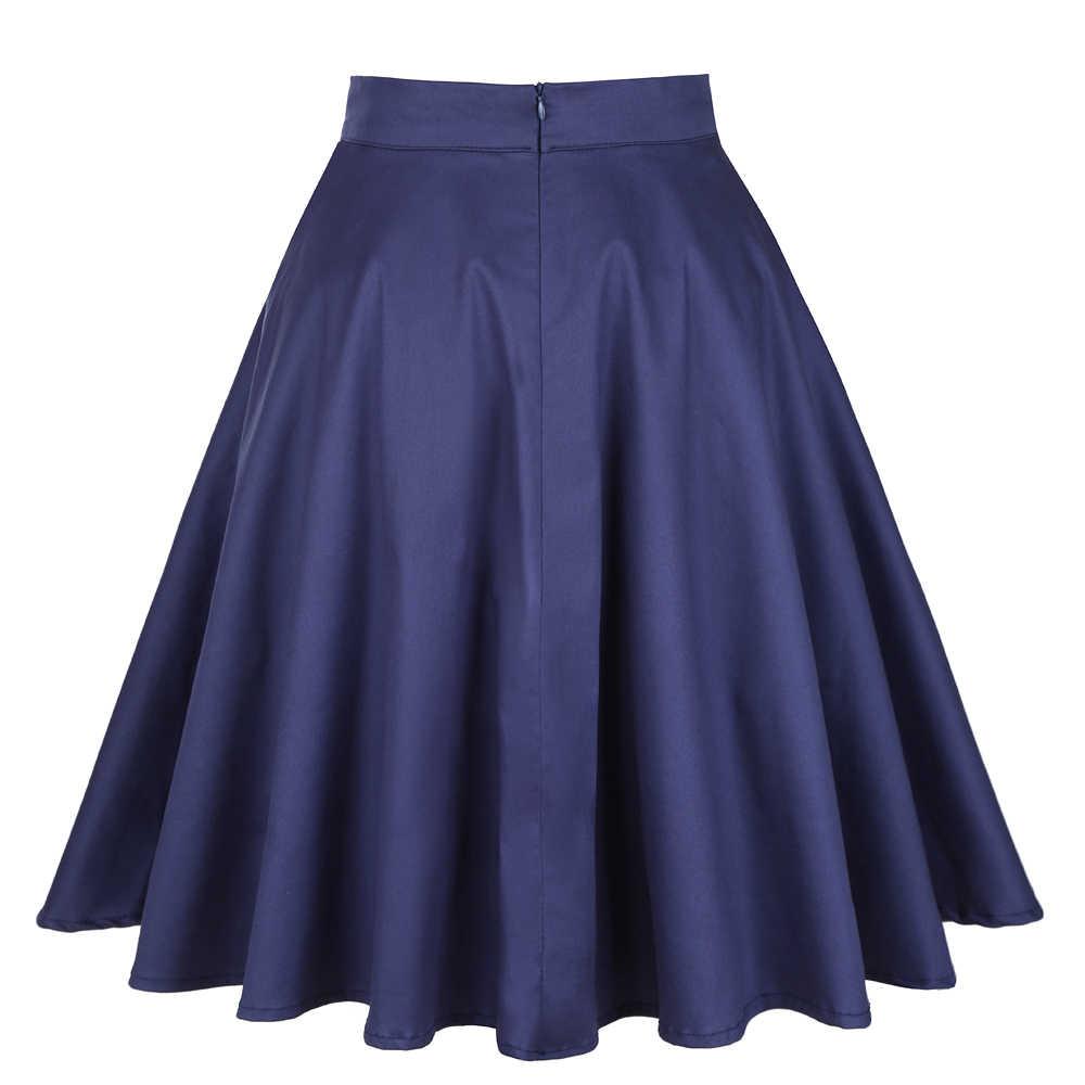 Women/'s Ladies Swing Vintage Retro 50s Full Circle Skater Rockabilly Midi Skirt