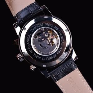 Image 4 - Jaragar 6 Blauwe Handen Display Mode Ontwerp Silver Case Mannen Horloges Topmerk Luxe Lederen Band Automatische Polshorloge