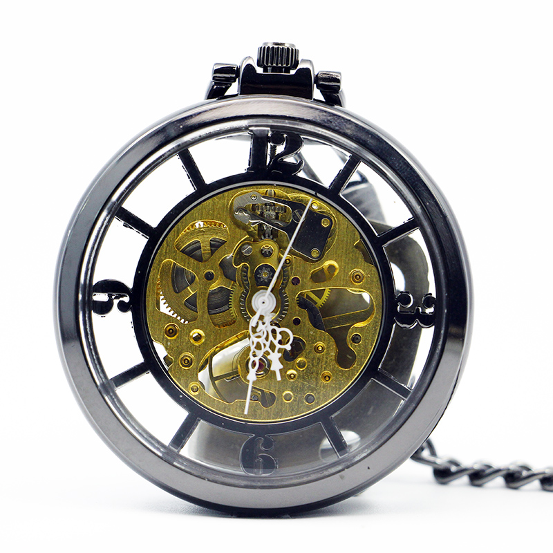 Luxury Skeleton Mechanical Pocket Watch Vintage Hand Winding Men Women Gift 2019 New Arrival Watches With Fob Chain PJX1210