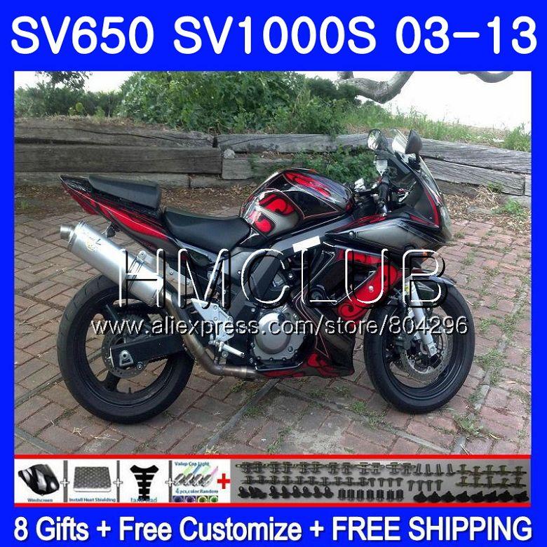 Красный черный обтекатель для SUZUKI SV650S SV 650 S 03 09 10 11 12 13 28HM. 22 SV650 1000 S 1000 S SV1000S 2003 2009 2010 2011 2012 2013
