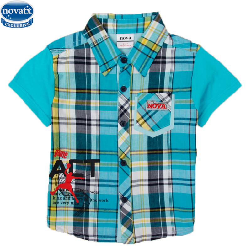 novatx C5082D new design boys kids cotton short sleeve summer t-shirt turn down collar with pocket boys t-shirt piaid style hot