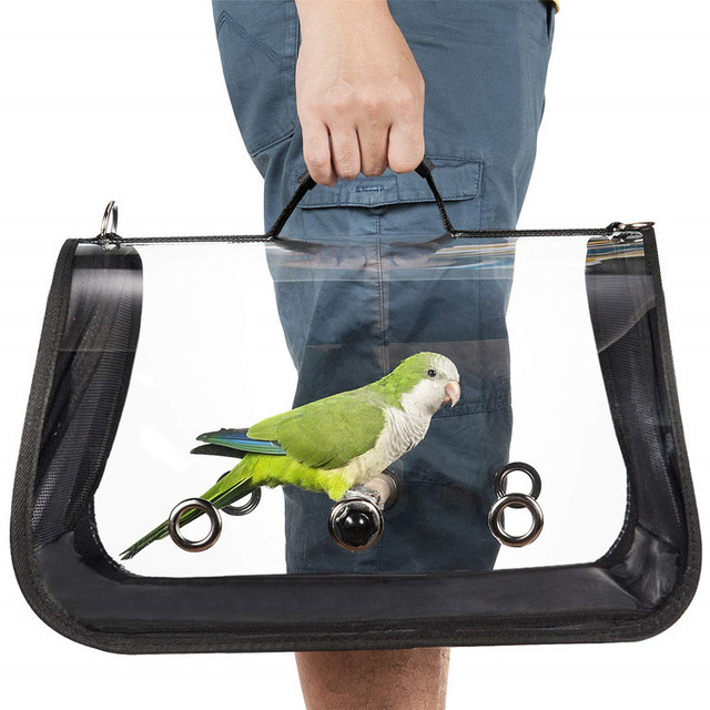 Outdoor Travel Transport Parrot Cage Bird Carriers Accessories PVC Transparent Breathable Parrot Handbag