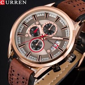 Image 1 - למעלה מותג CURREN גברים ספורט שעונים קוורץ זכר שעון הכרונוגרף אופנה תאריך עור שעוני יד Hodinky Montre Homme