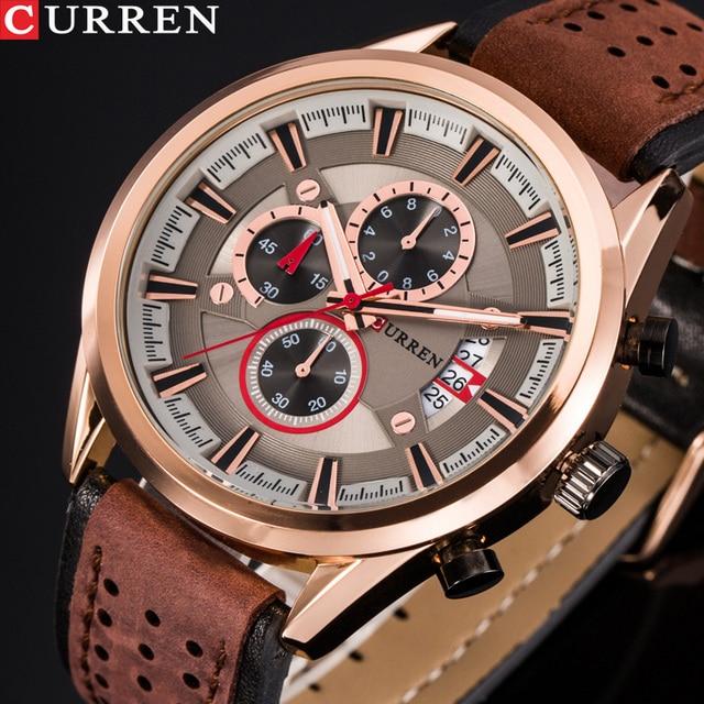 למעלה מותג CURREN גברים ספורט שעונים קוורץ זכר שעון הכרונוגרף אופנה תאריך עור שעוני יד Hodinky Montre Homme