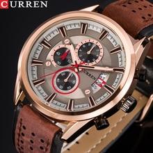 Top Brand CURREN Men Sports Watches Quartz Male Clock Chronograph Fashion Date Leather Wristwatch Hodinky Montre Homme
