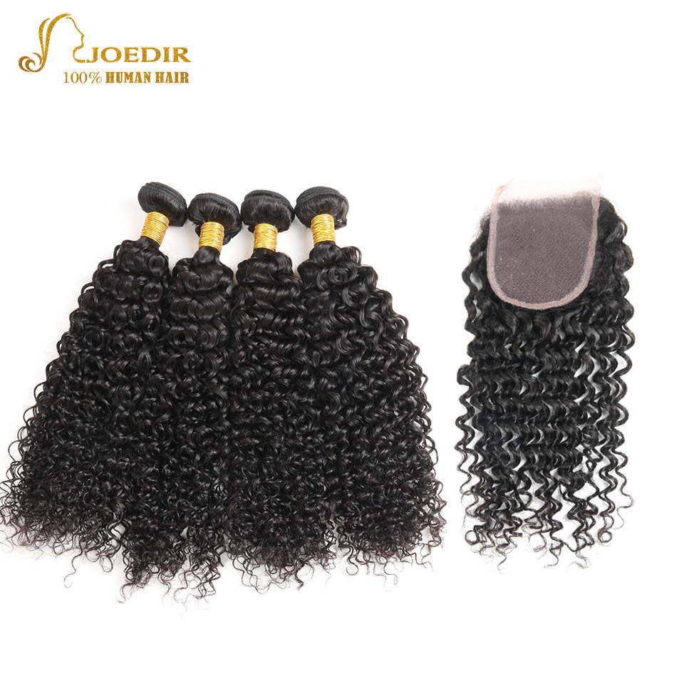 Joedir Hair Malaysian Kinky Curly Bundles With Lace Closure 4 Bundles Hair Extension Non Remy Human Hair Bundle With Closure 4*4