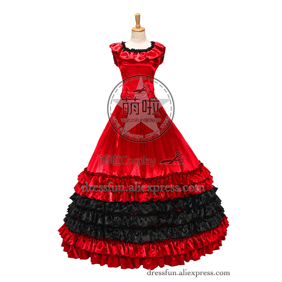 Colonial Civil War Satin Ball Gown Dress Prom Luxury Layered Ruffles With Fancy Falbala Collar And Glossy Shining Surface