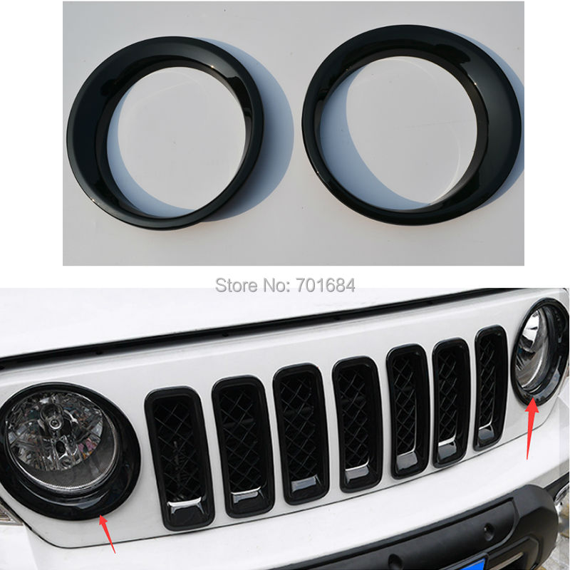 ABS Black Front Headlight Lamp Cover Molding Trim For Jeep Patriot 2011 2012 2013 2014 2015 2016|trim cover|jeep trim|jeep headlight covers - title=