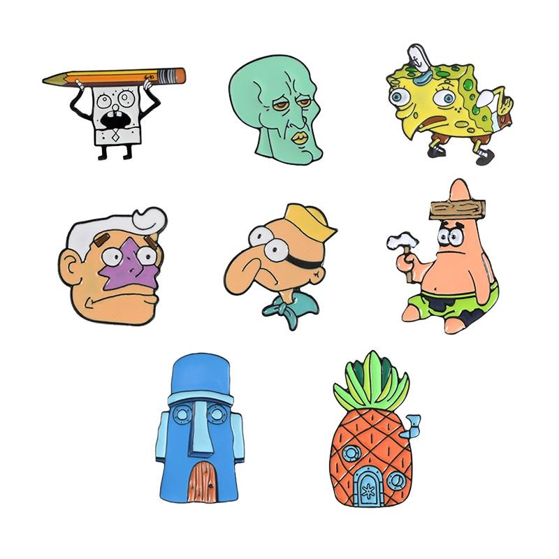 Брошь в виде мультяшного персонажа, губка-карандаш, Боб, дом в форме ананаса, Squidward, Русалка, Barnacle, маски для мальчиков, домик, Патрик, значок