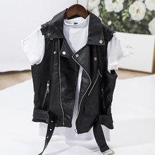 7142018d9f2cf Women Coat Leather Black Bomber Jackets Vintage Sleeveless Ladies Gilet  Jacket Abrigos Mujer 4XL Plus Size A4