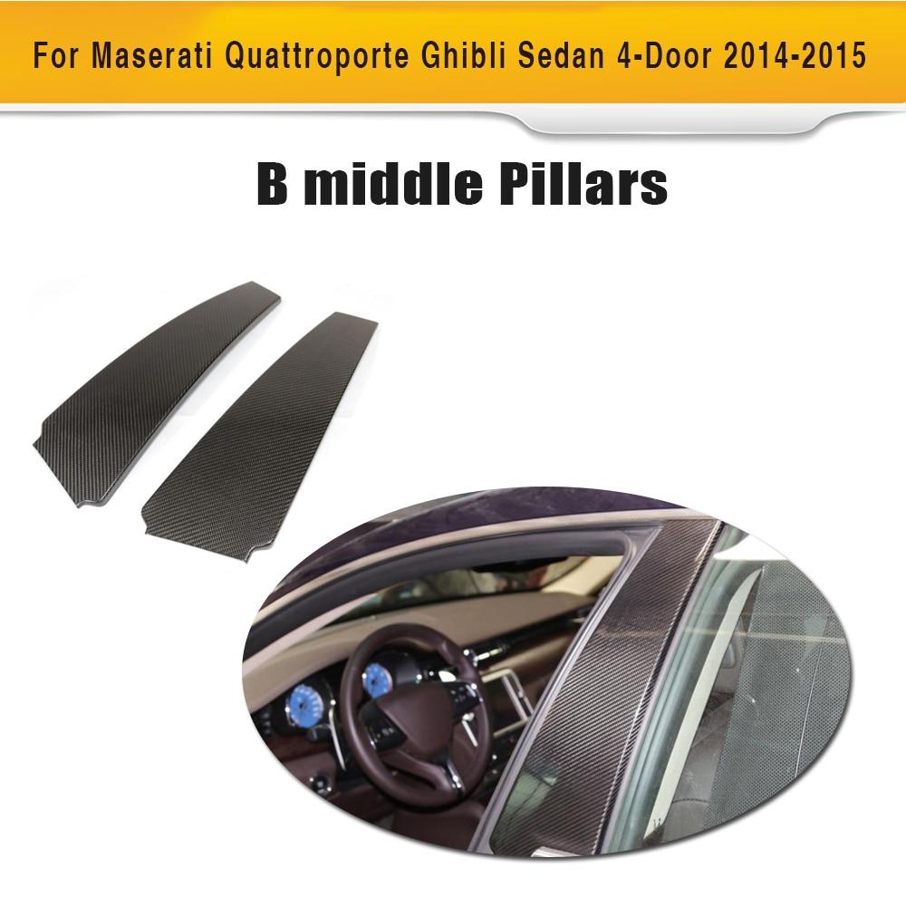 Углеродное волокно боковой двери столпов Fender планки углерода наклейки для Maserati Quattroporte Ghibli 2014-2015 ...