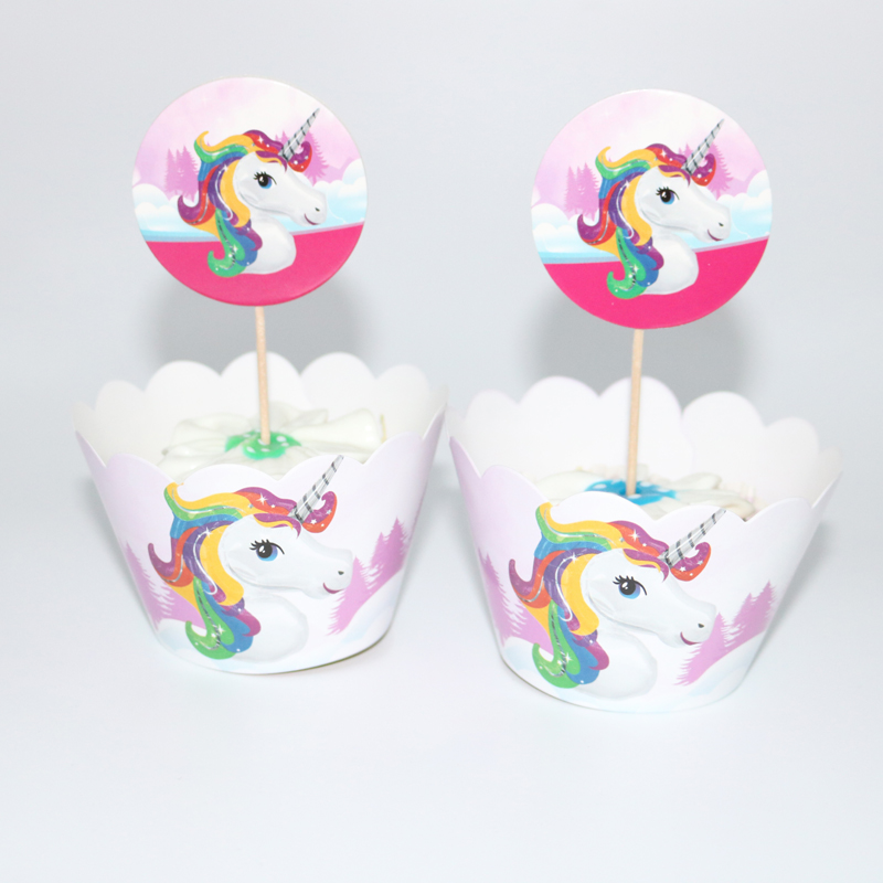 24pcs Unicorn Cupcake Wrappers Cake Cupcake Toppers Baby Shower Kids Birthday Party Decoration Supplies 12 wraps+12 topper