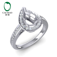 CaiMao 6 5x8 5mm Pear Cut Semi Mount Ring Settings 0 22ct Diamond 14k White Gold