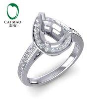 Caimao 6.5 × 8.5ミリメートル梨カットセミマウントリングセッティング0.22ct