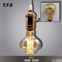 T11 Ampoule Vintage Edison Bulb E27 Incandescent Filament Decorative Light Bulb 40w 220V Lampada Retro Edison Lamp Glass Lights(China)