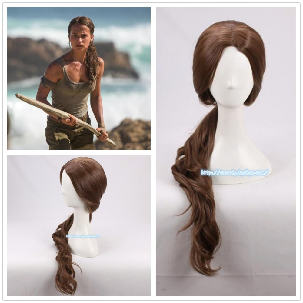 Anime Movie Tomb Raider Lara Women 70cm Curly Brown Synthetic Hair Alicia Vikander Role Play Costumes Halloween Wig + Wig Cap