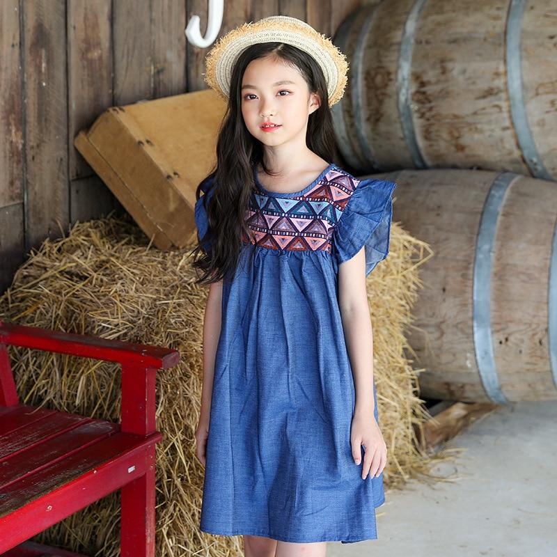 New Summer 2018 Petal Sleeve Cotton Baby Girls Dress Princess Costume For Kids Clothes Toddler Big Teenage Girl Denim Dress 4-14