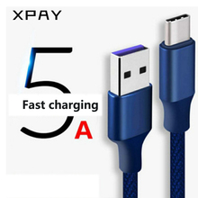 XPAY 5A Type C Cable  USB 3.1 Fast Data Supercharge Charging Charger For Huawei Mate 20 Pro 10 P20 Honor Wire Cord