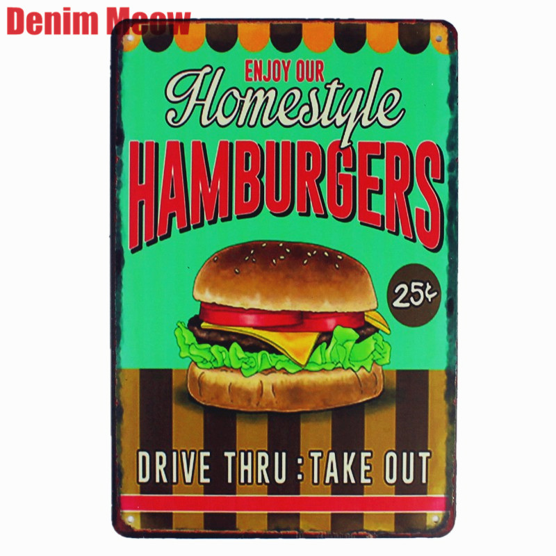 Hamburger Home Style Retro Plaque Metal Plates Bar Pub Cafe Home Decor Art Stickers Wall Painting Decorative Signs Gift N162