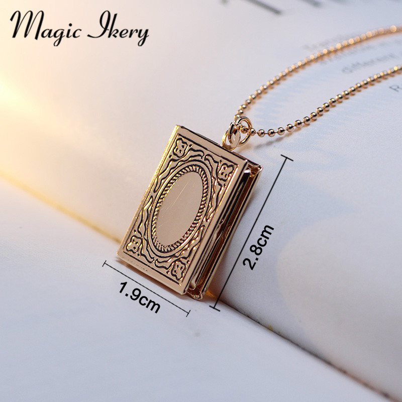 Magic ikery for women gold color vintage photo box floating book magic ikery for women gold color vintage photo box floating book locket necklace pendant fashion jewelry mka55 in pendant necklaces from jewelry aloadofball Choice Image