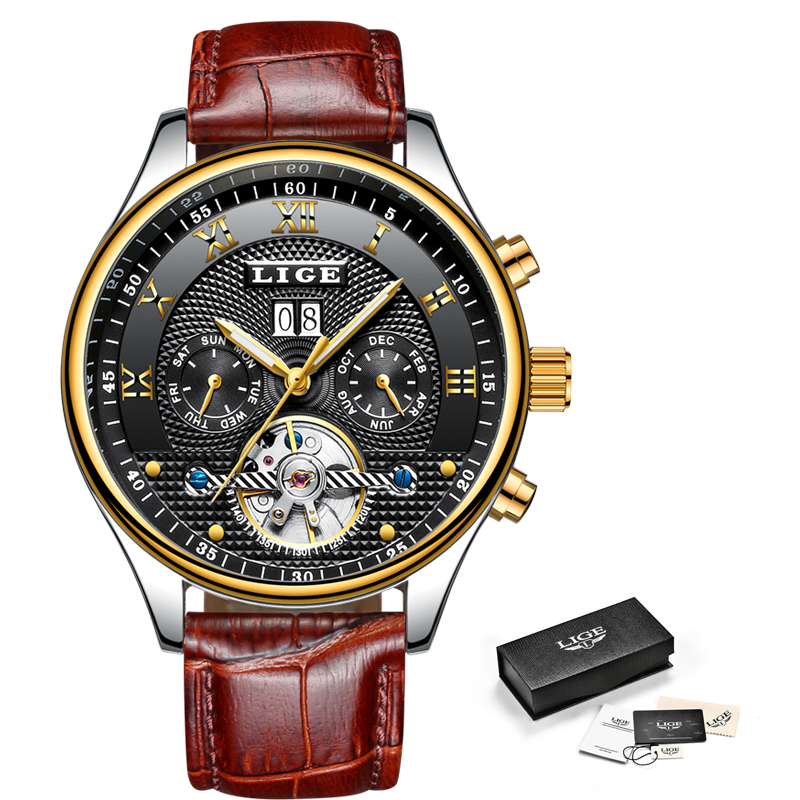 LIGE Fashion Sports Watch Men Business Leather Clock Mens Watches Top Brand Luxury Automatic Mechanical Watch Relogio MasculinoLIGE Fashion Sports Watch Men Business Leather Clock Mens Watches Top Brand Luxury Automatic Mechanical Watch Relogio Masculino
