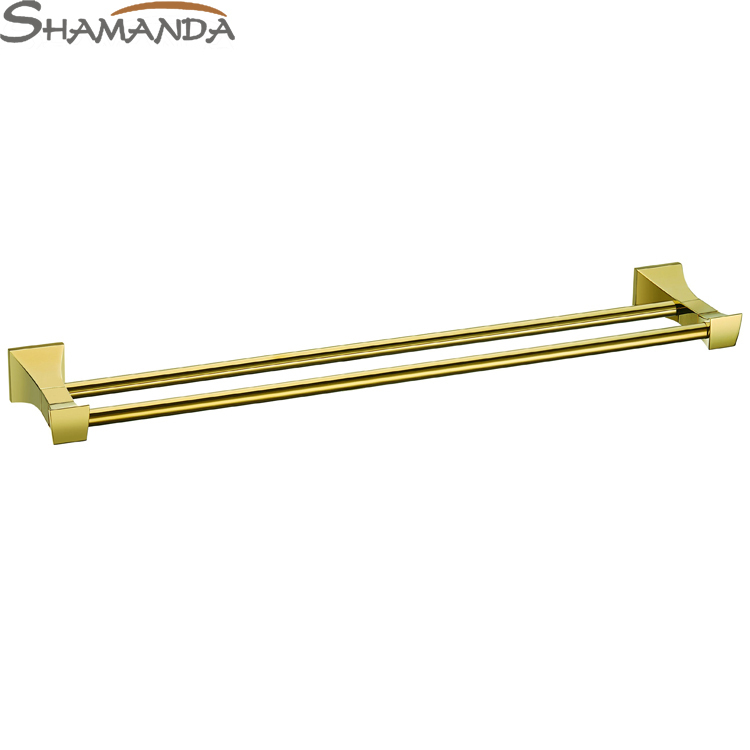Free Shipping Solid Brass Made Golden Finish Double Towel Bar,Towel holder,Towel Rack,Bathroom accessories Products-67009 free shipping brass & stone golden towel rack gold towel bar towel holder cy008s