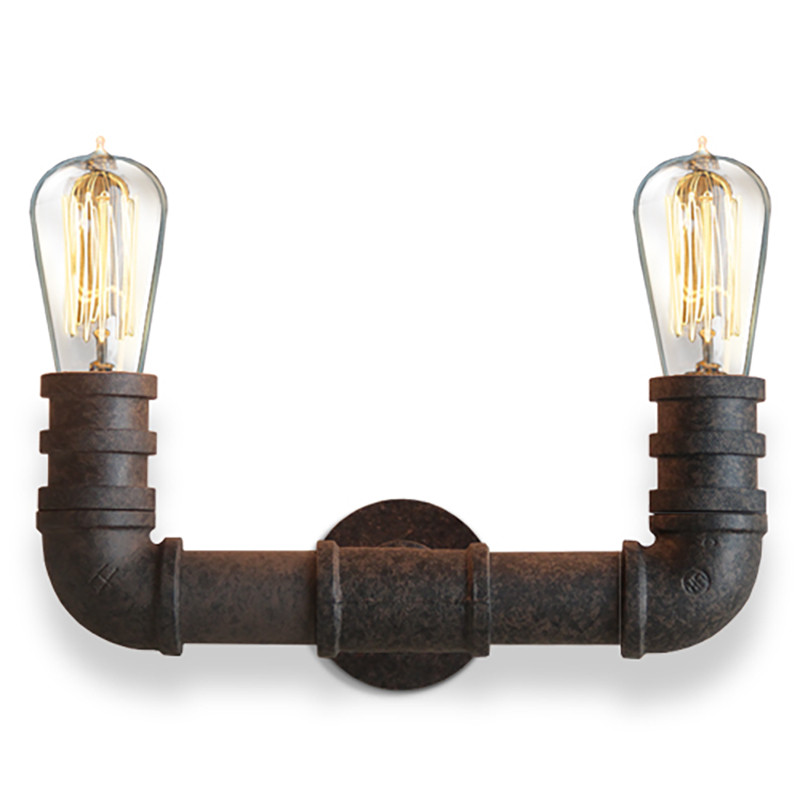 ФОТО Industrial Loft Vintage Pipe Metal Wall Lamp Retro Edison Steampunk Wall Light Water Pipe Wall Sconce Black