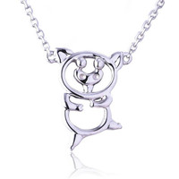 18K Gold Hollow Pig Pendant Necklace Long 0 Chain Necklace Jewelry Wedding Necklace Accessories White Yellow