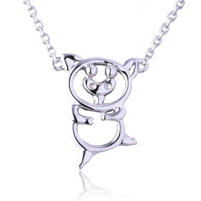 18K Gold Hollow Pig Pendant Necklace Long 0 Chain Necklace Jewelry Wedding Necklace Accessories White Yellow Rose Gold 0.51g yoursfs 18k rose white gold plated letter best mum heart necklace chain best mother s day gift