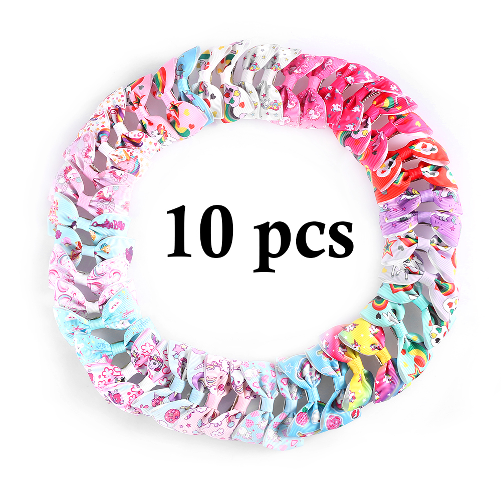 10 Pcs Kids Unicorn Pattern Grosgrain Hair Bows Clips Girls Mini Ribbon Bows Hairpin Multicolor Bows Hair Accessories