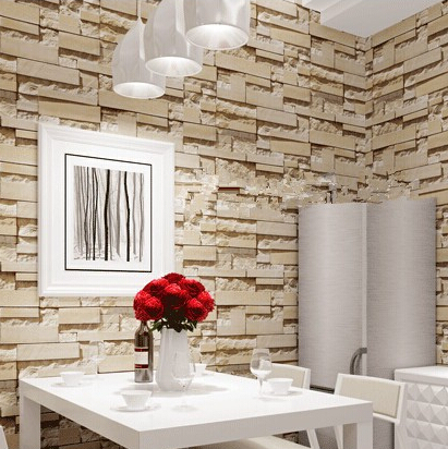 Us 26 65 35 Off New Style 3d Luxury Wood Blocks Effect Brown Stone Brick 10m Vinyl Wallpaper Roll Living Room Background Wall Decor Wall Paper In