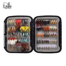 Free Shipping 110pcs dry and wet fly lures with waterproof box Trout fishing bait lure tackle soft
