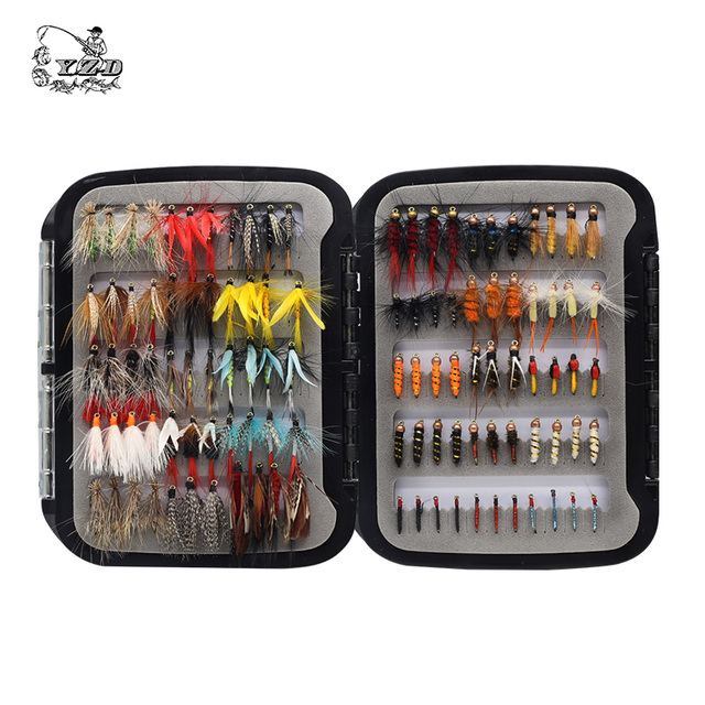 110 pcs Dry Wet Fly Lures With Fly Waterproof Box Trout Lures Fly Fishing Bait Lure Fishing Tackle