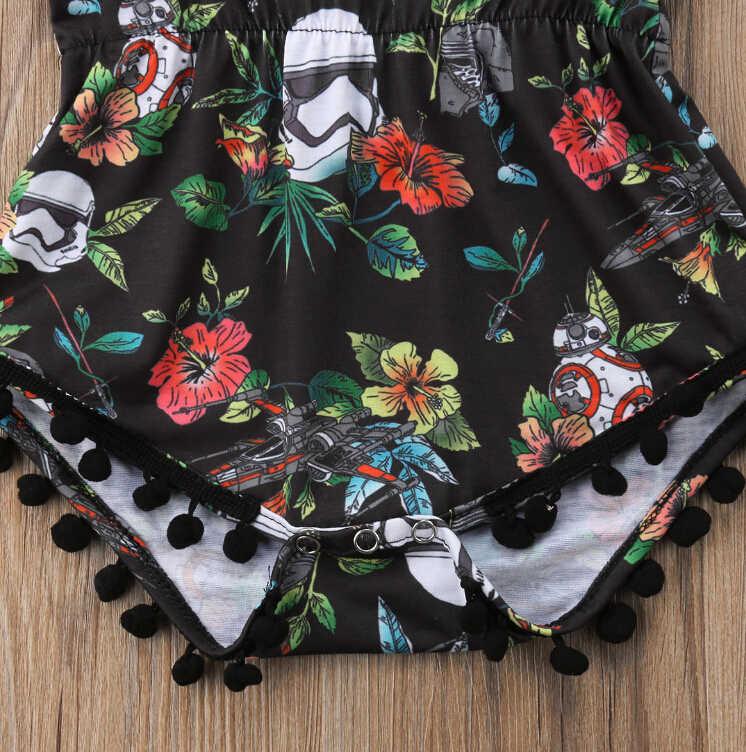 Без рукавов для новорожденных девочек ясельного возраста Цветочные кисточки Песочник Комбинезон хлопковый летний черный цветочный комбинезон наряды