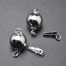 Родиевый цвет плетение 925 Серебряная круглой формы магнитной вставки ожерелье застежки пряжки DIY ювелирных изделий 10 шт ПЭТ Лот