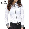 Hot Sale !! Lady White Cotton OL Shirts Plus Size S-3XL Korean Puff Sleeve Turn Down Collar Elegant Women Fashion Blouses
