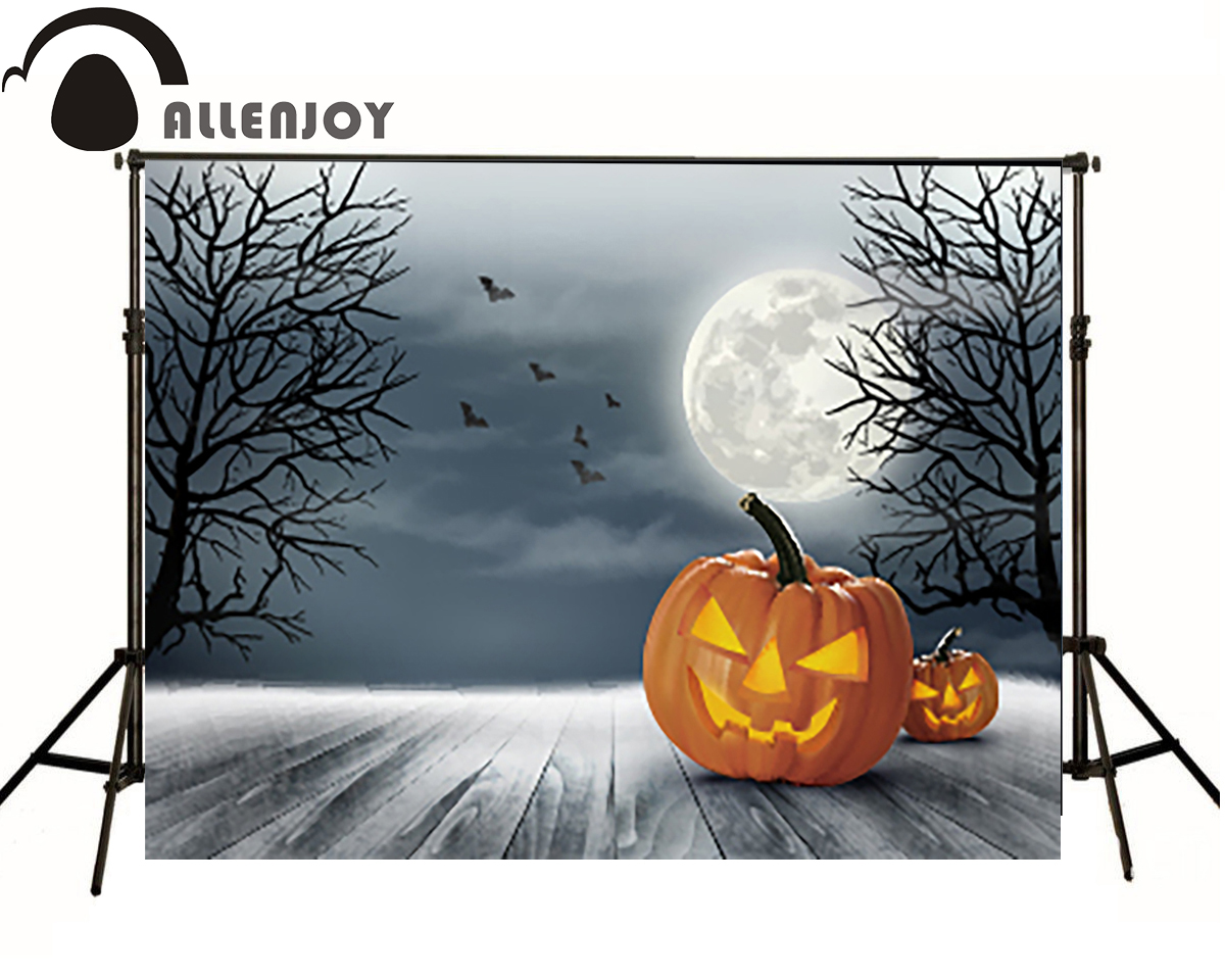 Allenjoy Photographic backdrop Wood Bats Pumpkin Moon Halloween Scenery Party Children Photocall backgrounds for photo studio allenjoy background for photo studio full moon spider black cat pumpkin halloween backdrop newborn original design fantasy props